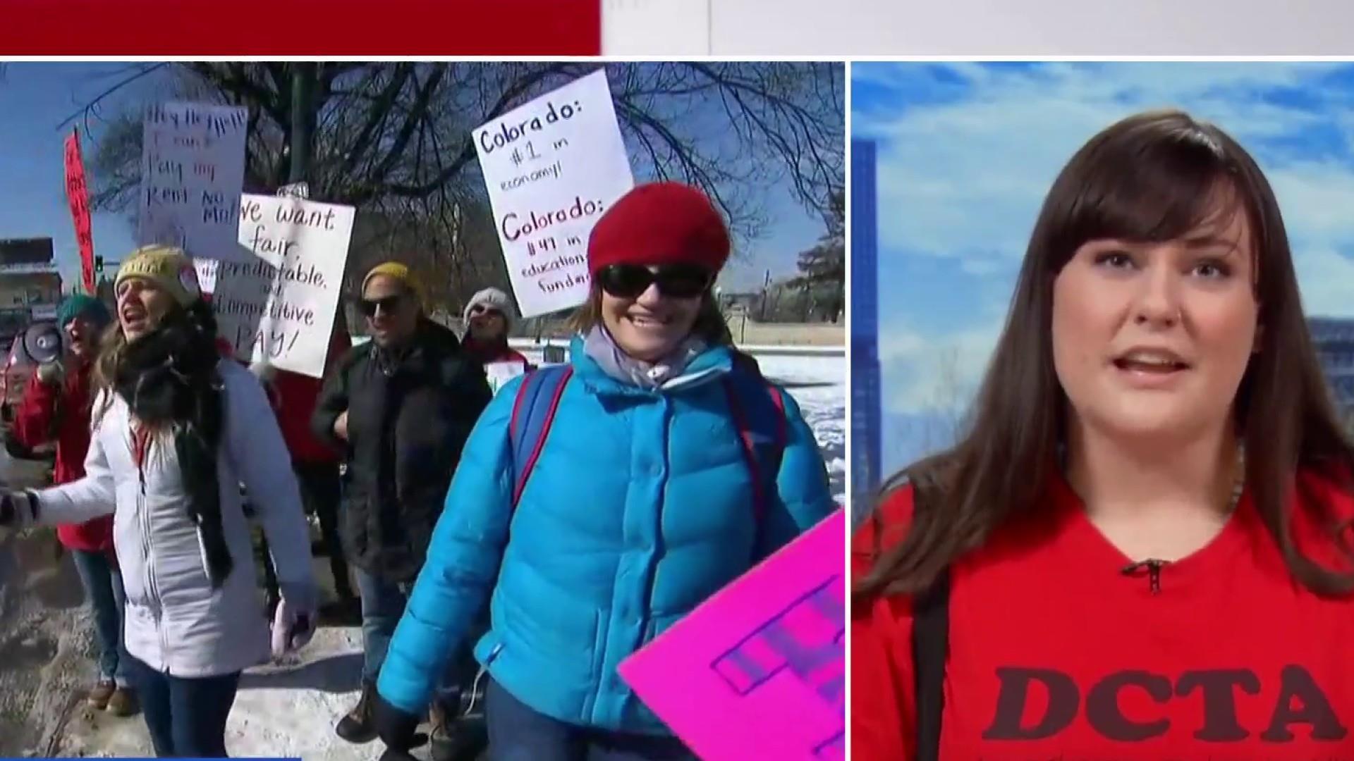 Teachers in Denver protesting for better pay