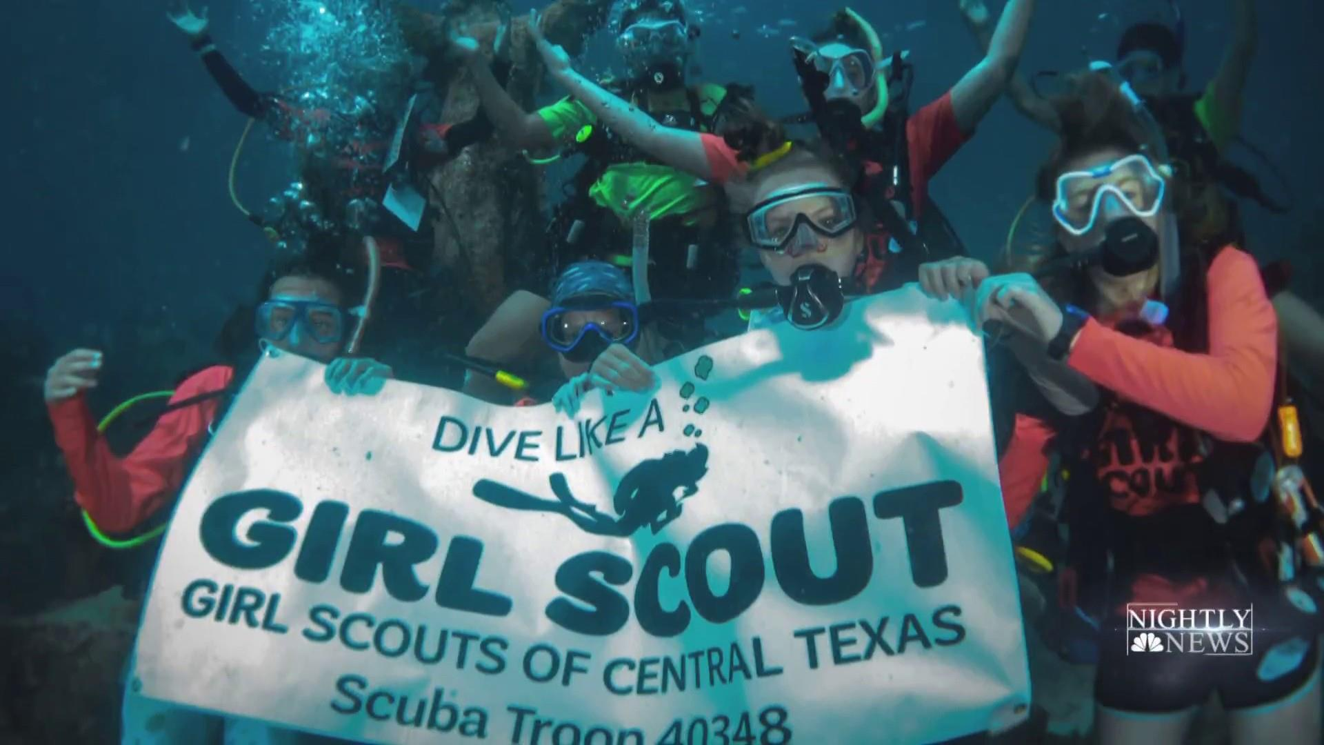 First and only scuba Girl Scout troop sells cookies underwater