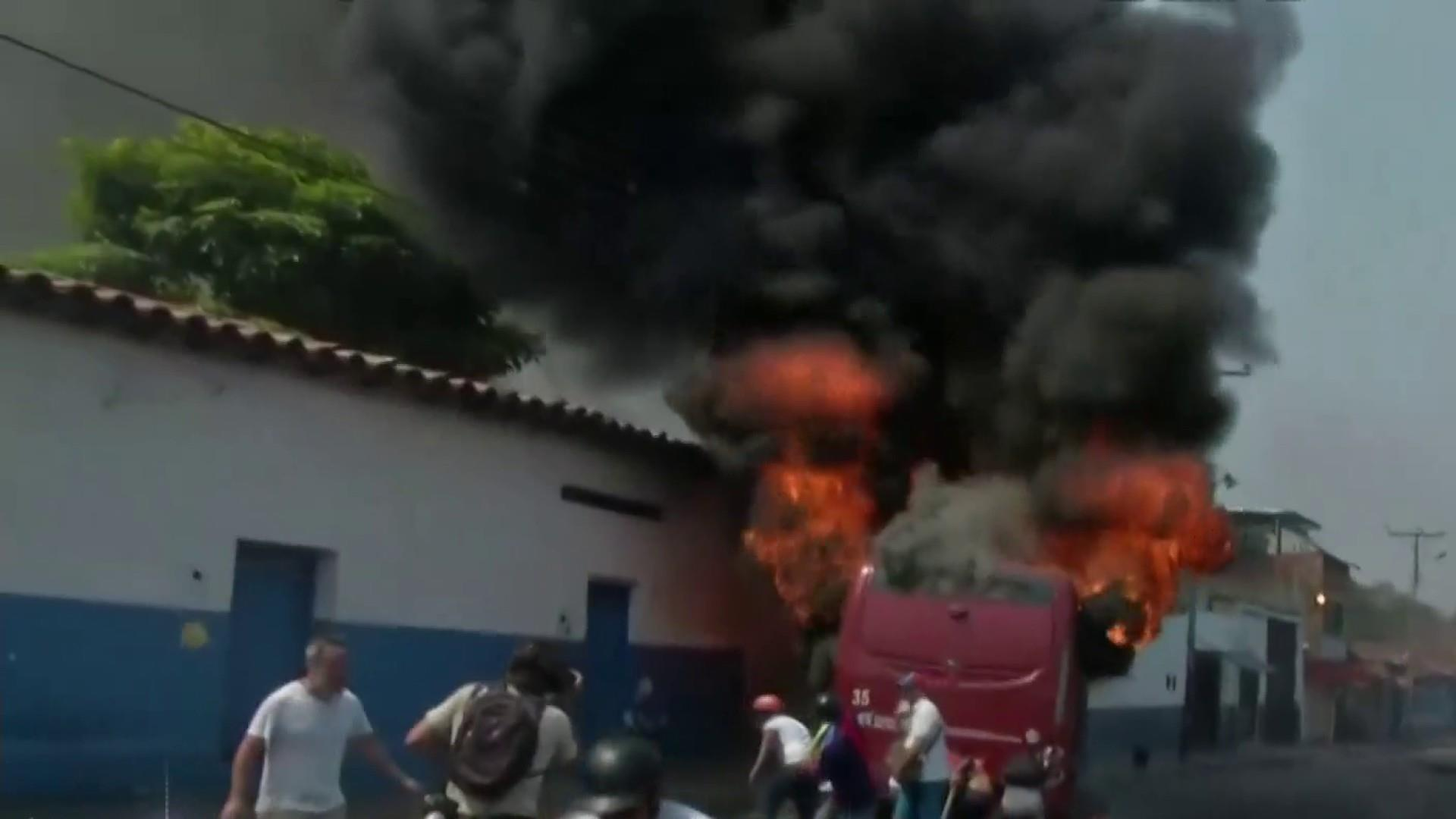 Venezuelans and government troops clash over Maduro regime's refusal to accept aid