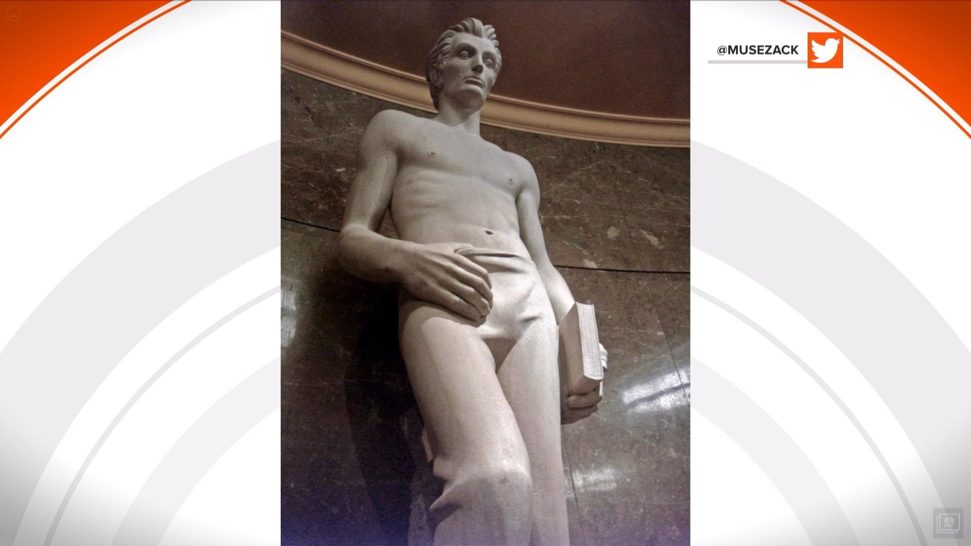 Shirtless Abraham Lincoln statue steams up social media