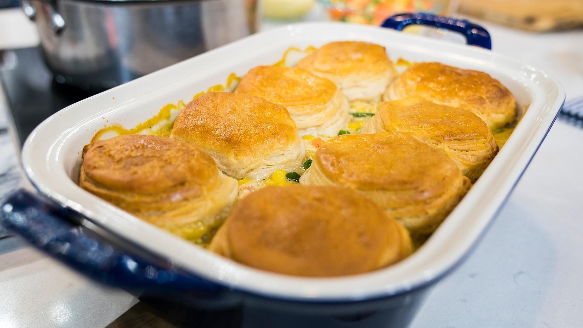 Ultimate winter comfort foods: pot sticker soup, chicken pot pie