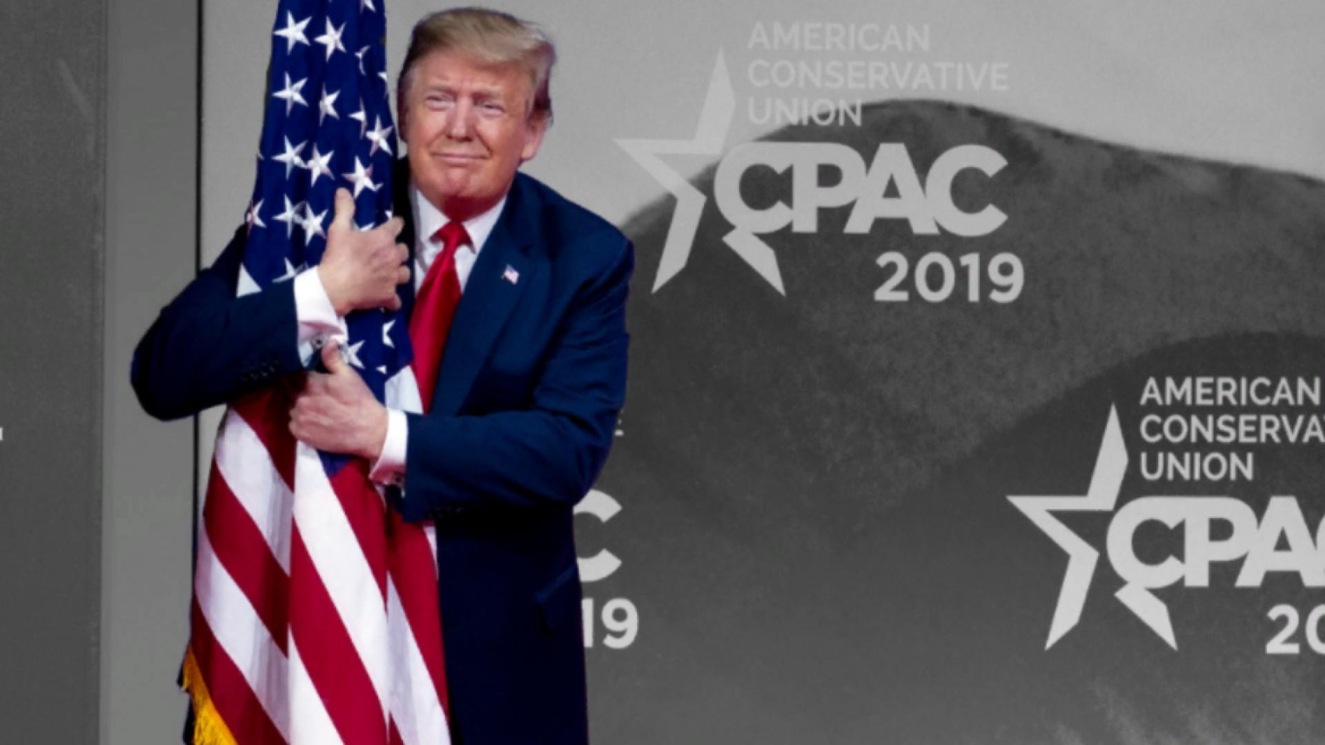 Trump hugs U.S. flag, calls 'bulls**t' on Russia in unhinged CPAC speech