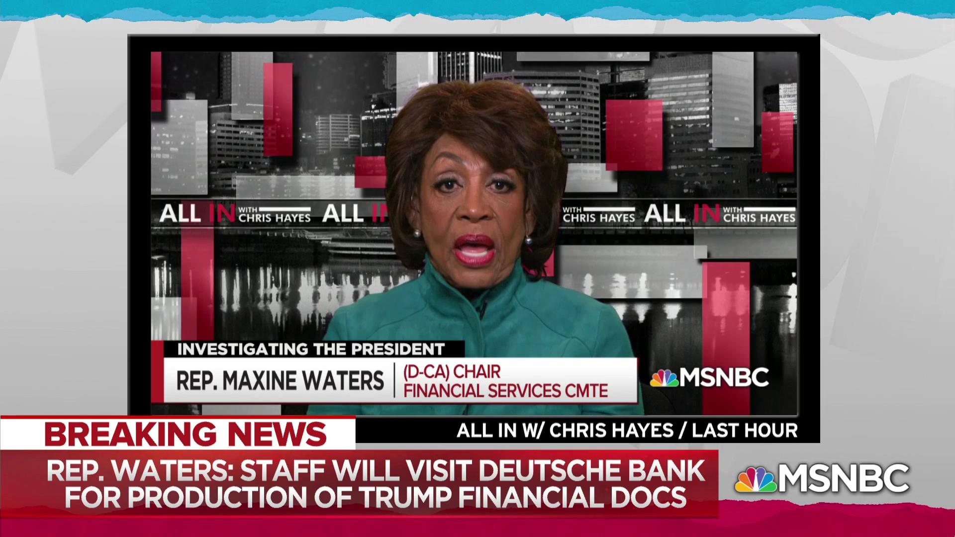Waters: House staffers working with Deutsche Bank on Trump docs