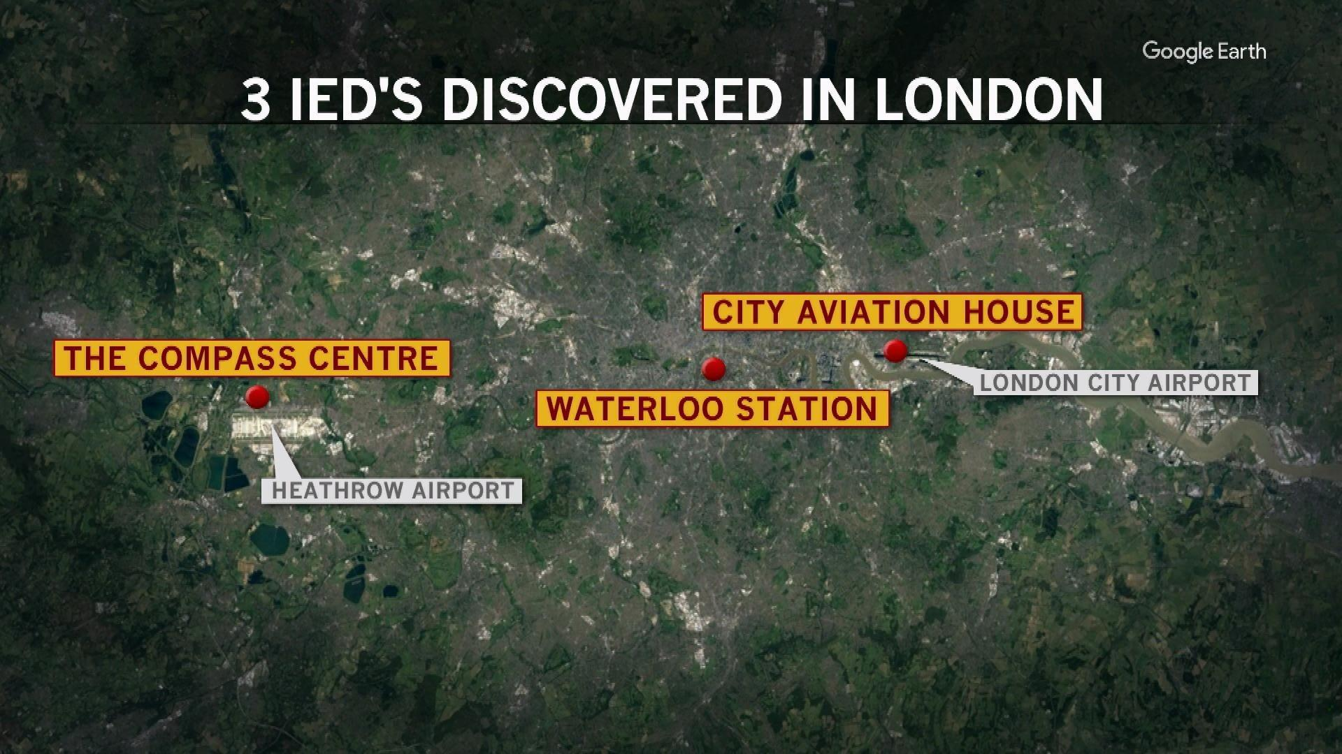 Explosive devices found near London airports, at major train station