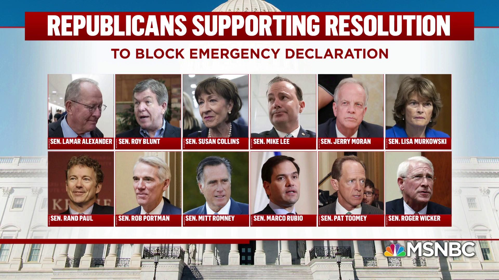 Rebuke from within: 12 GOP block Trump's emergency declaration
