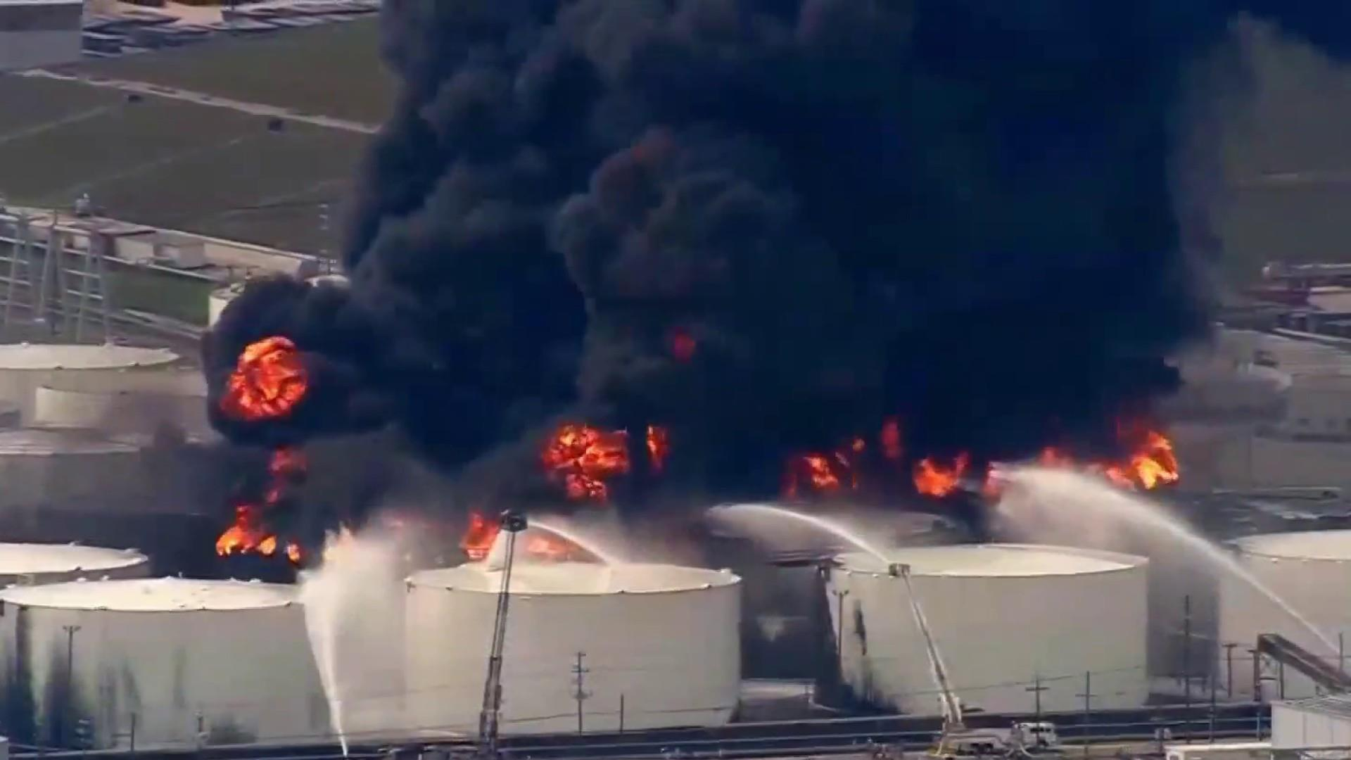 Texas petrochemical blaze continues to burn sparking health concerns