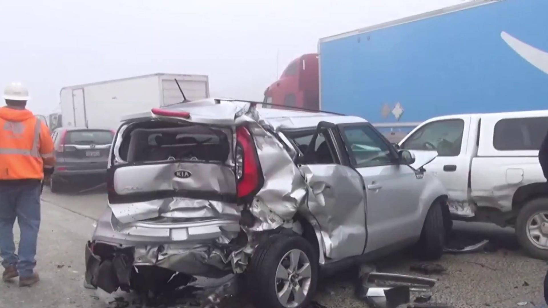 One dead after massive car pileups in California