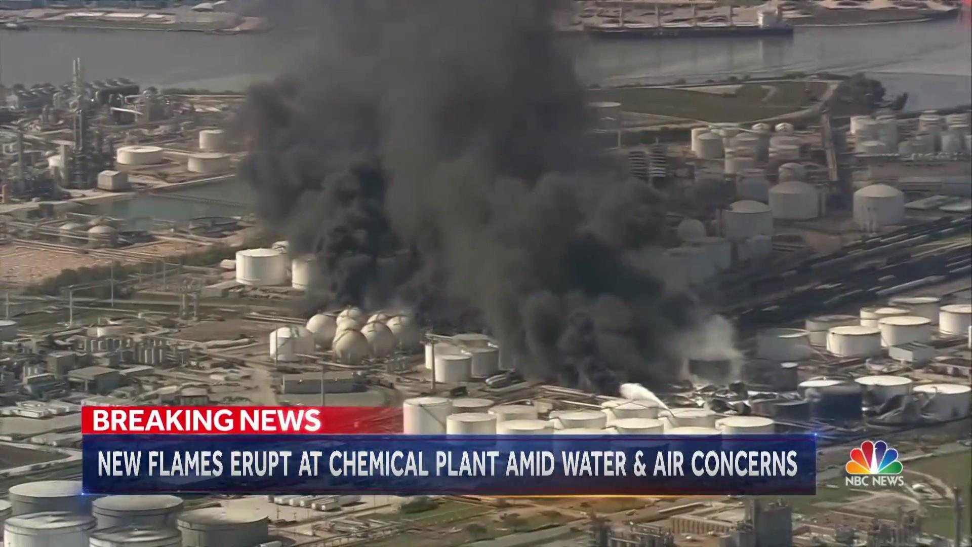 Fire erupts for second time at chemical site in Texas