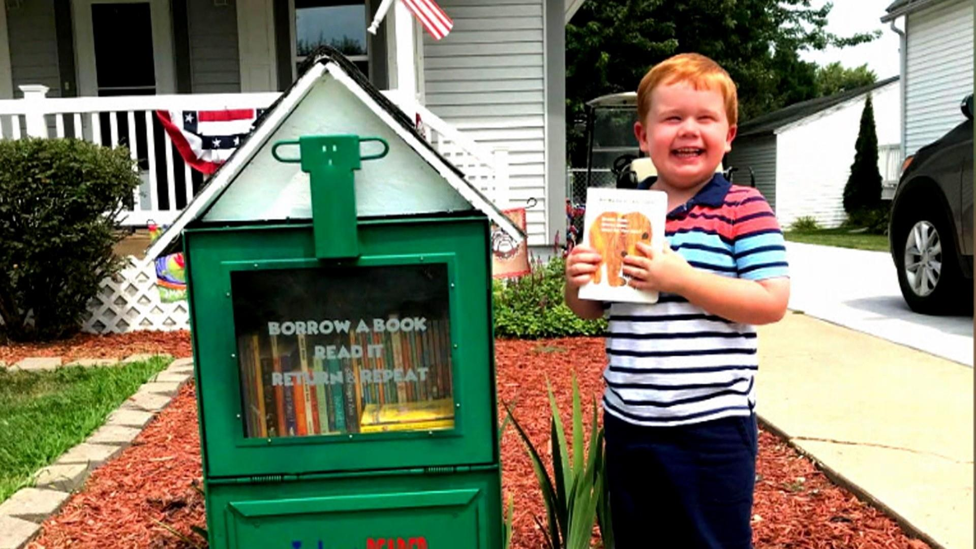5-year-old's little library draws big crowds in his neighborhood