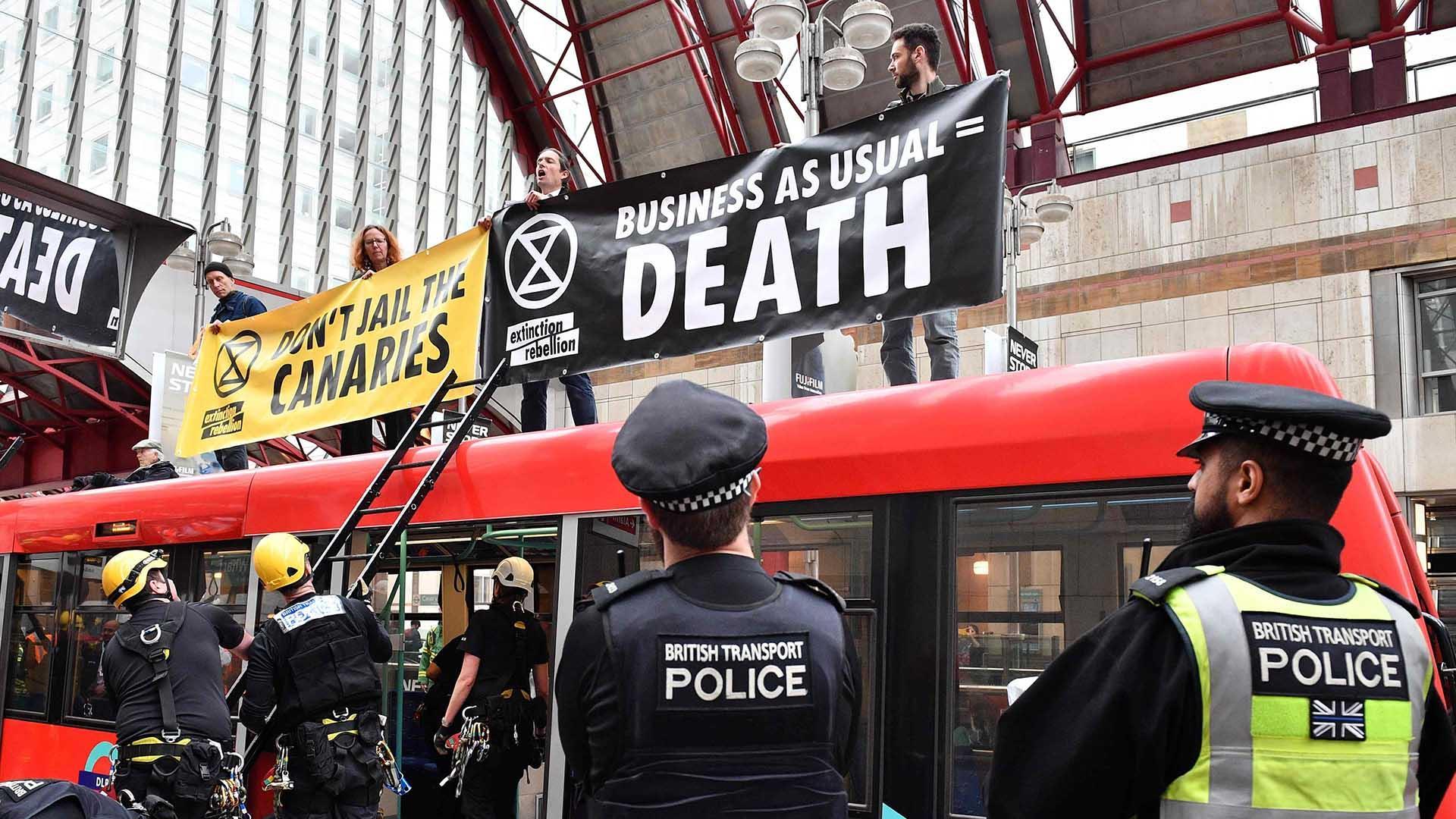 Extinction Rebellion climate change activists blockade London Stock Exchange