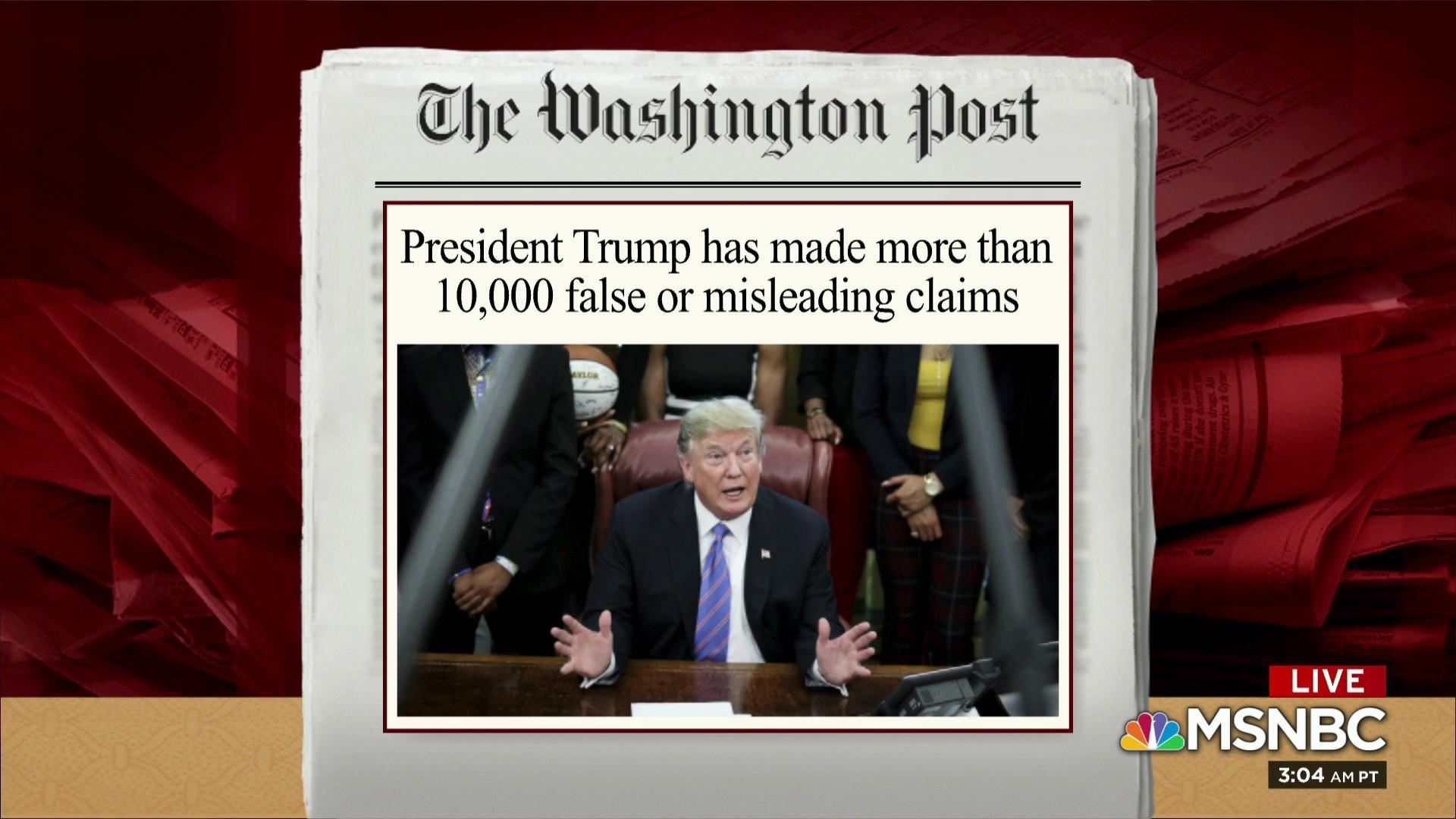 Trump makes more than 10,000 false, misleading claims: WaPo