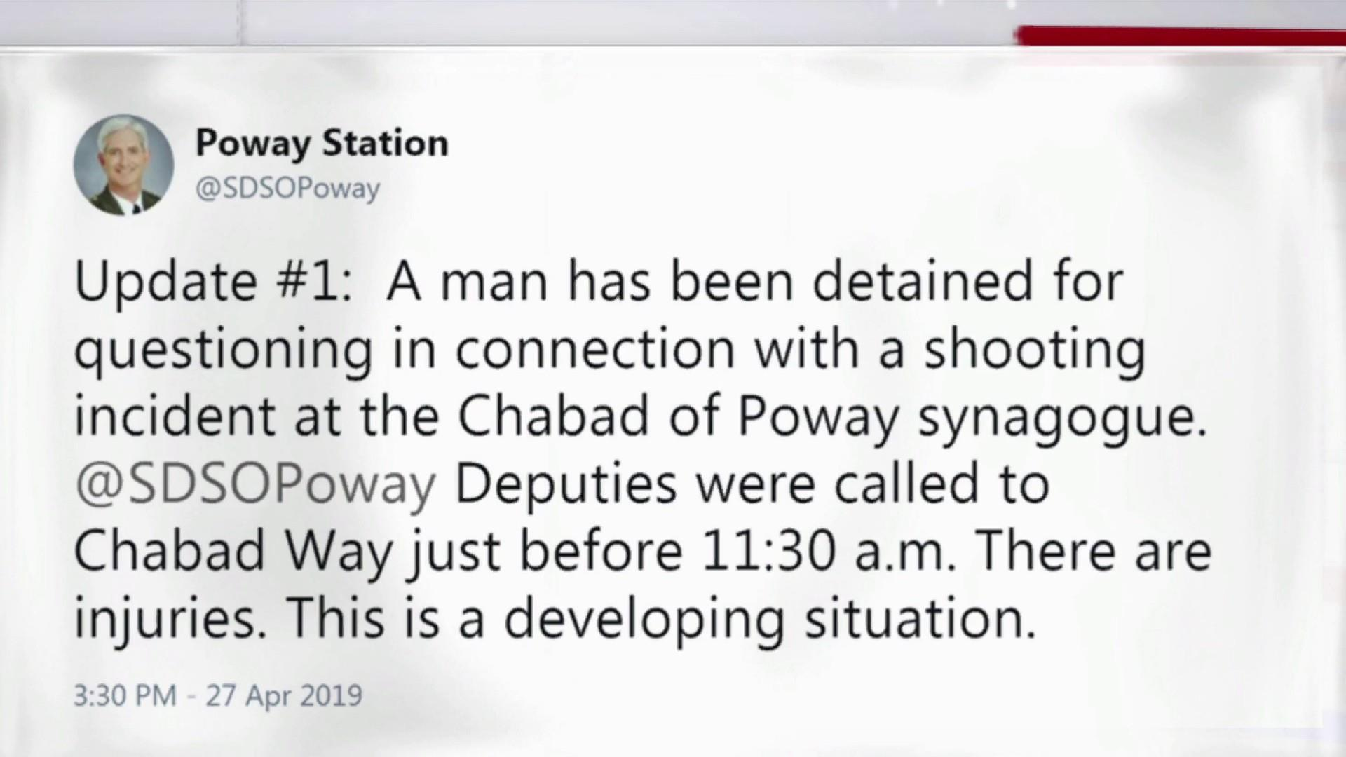 Man detained in connection with shooting at synagogue in California