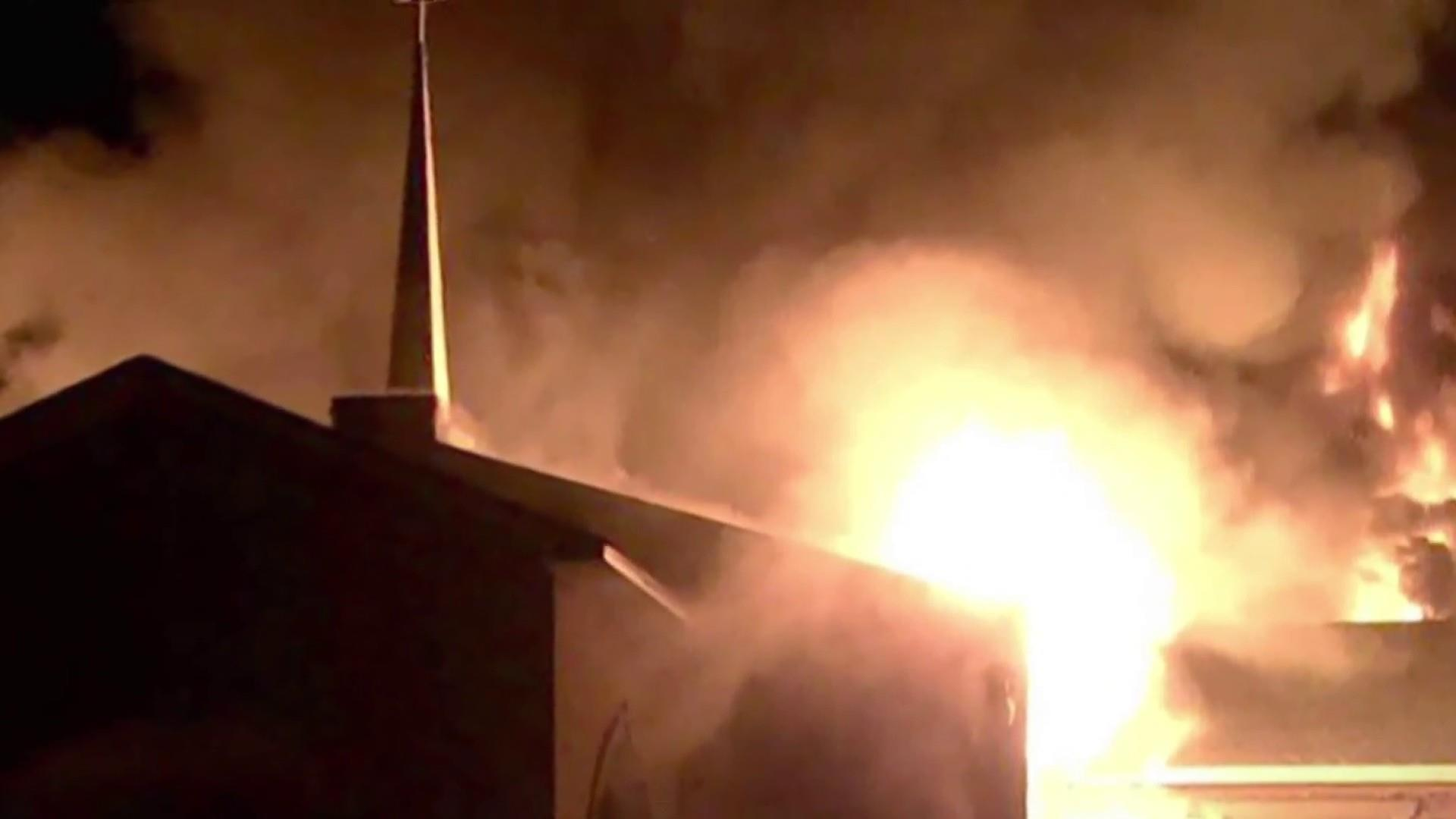 Sunday service unites parishioners after three historic black churches go up in flames