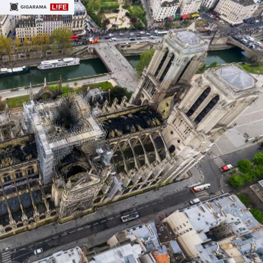 Drone visuals capture Notre Dame fire devastation