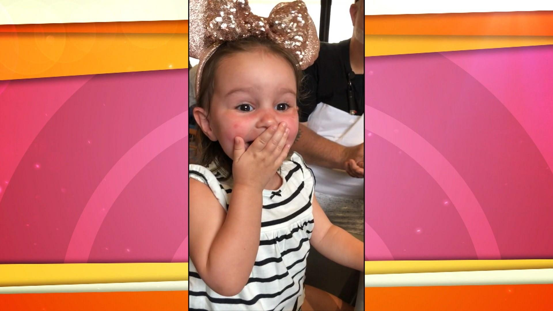 Little girl visiting Disney World ecstatic over Donald Duck sighting