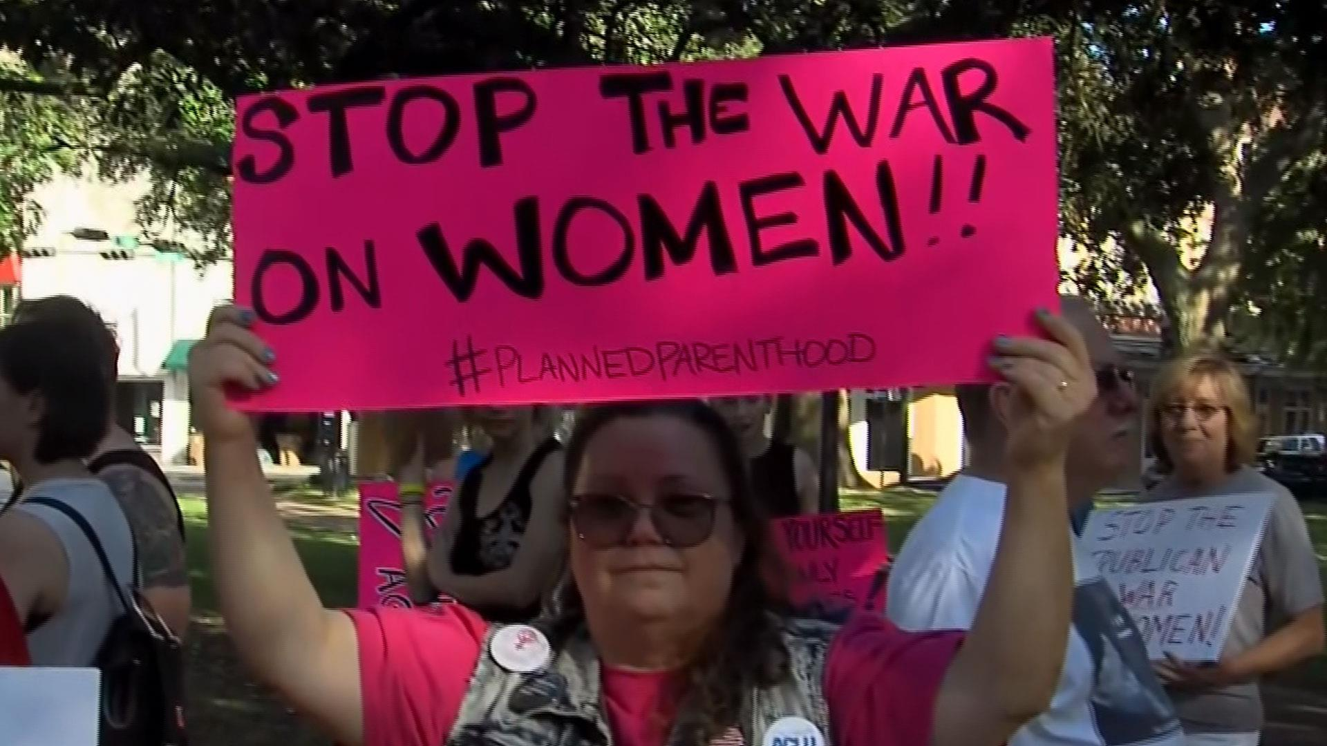 Abortion-rights supporters rally in Mobile, Alabama