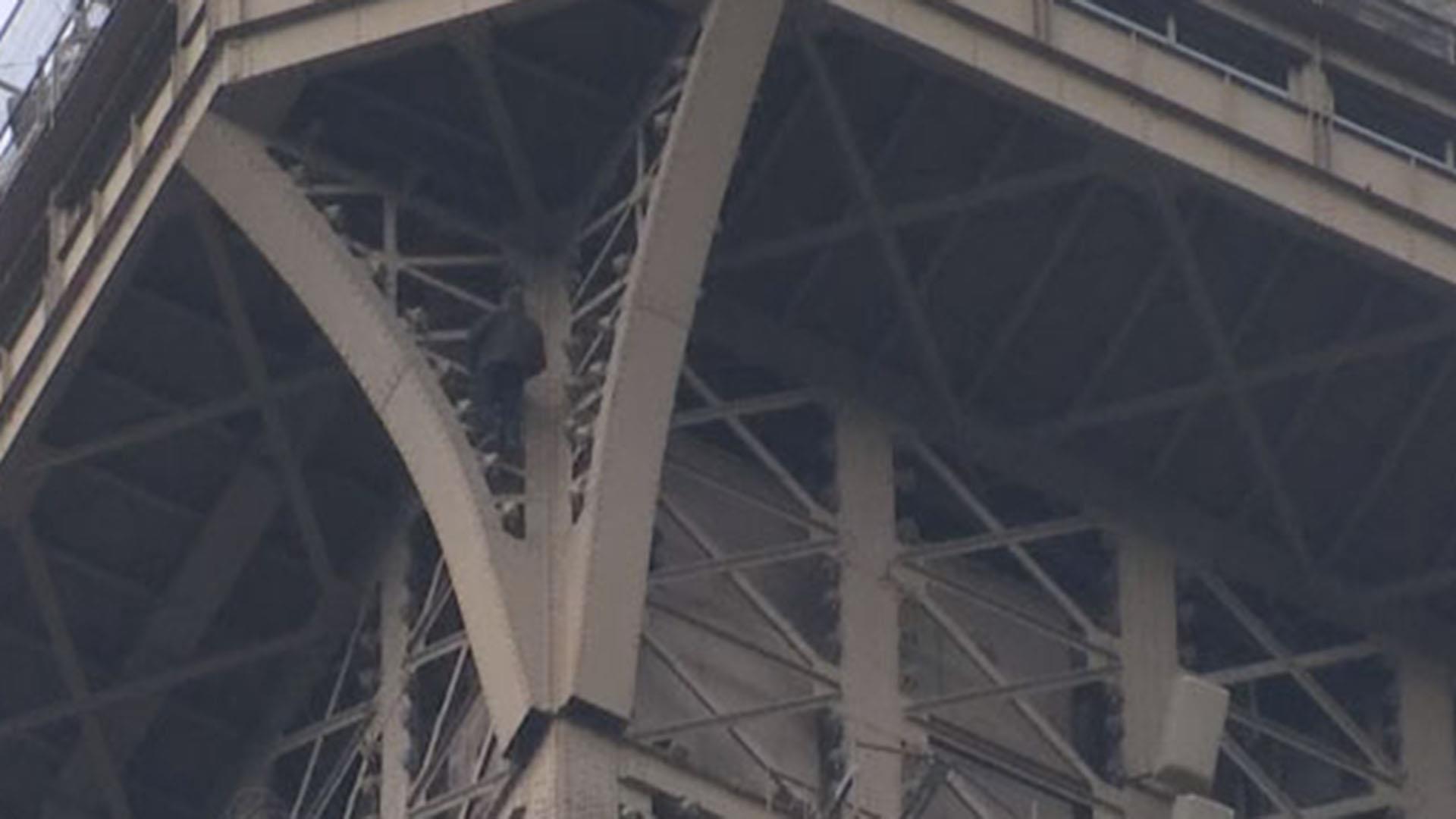 Police swarm Eiffel Tower as man climbs the Paris landmark