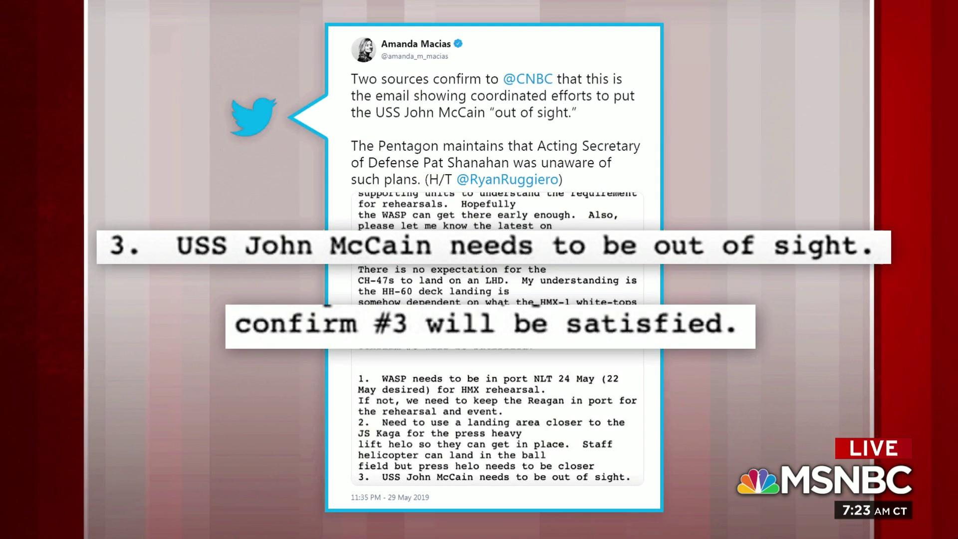 Emails shed light on efforts to put USS John McCain 'out of sight'