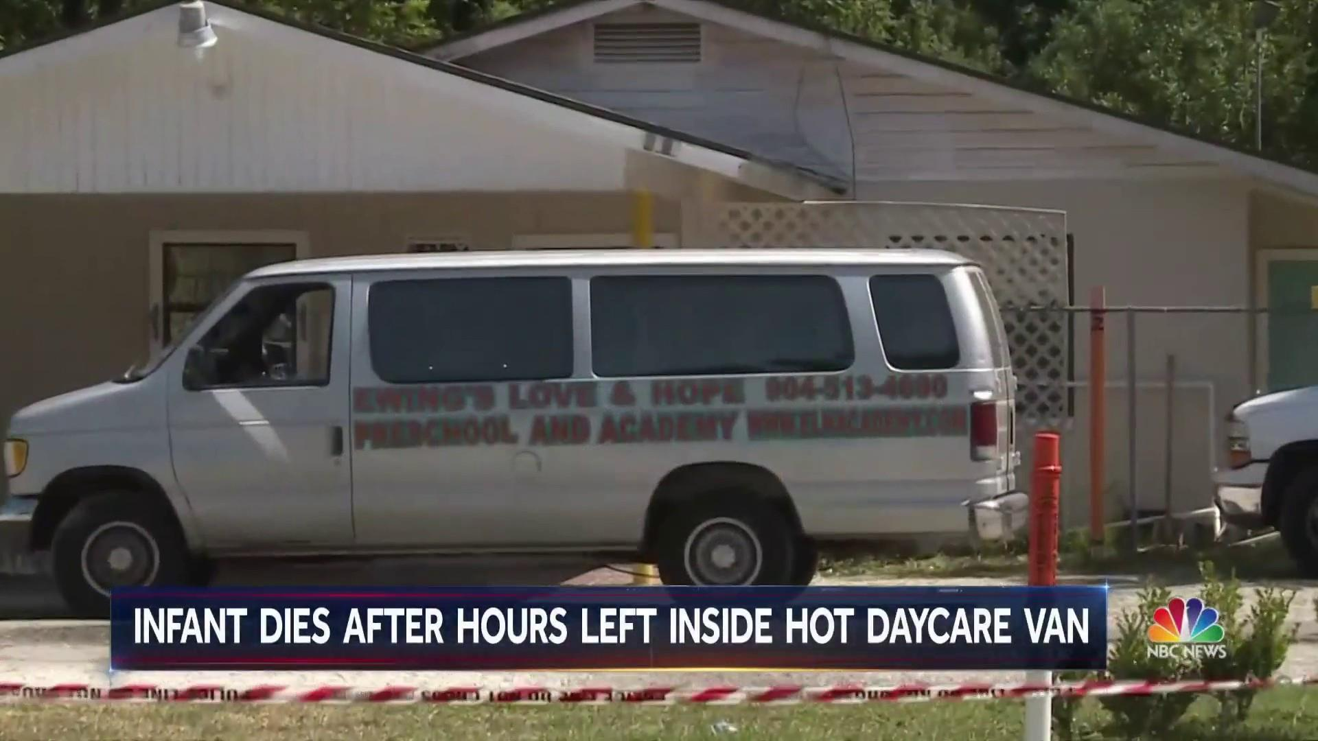 Director of day care arrested after baby left in van for 5 hours dies