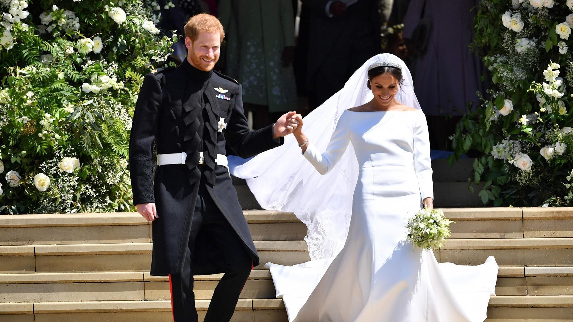 Prince Harry, Meghan Markle mark 1st anniversary with new wedding photos