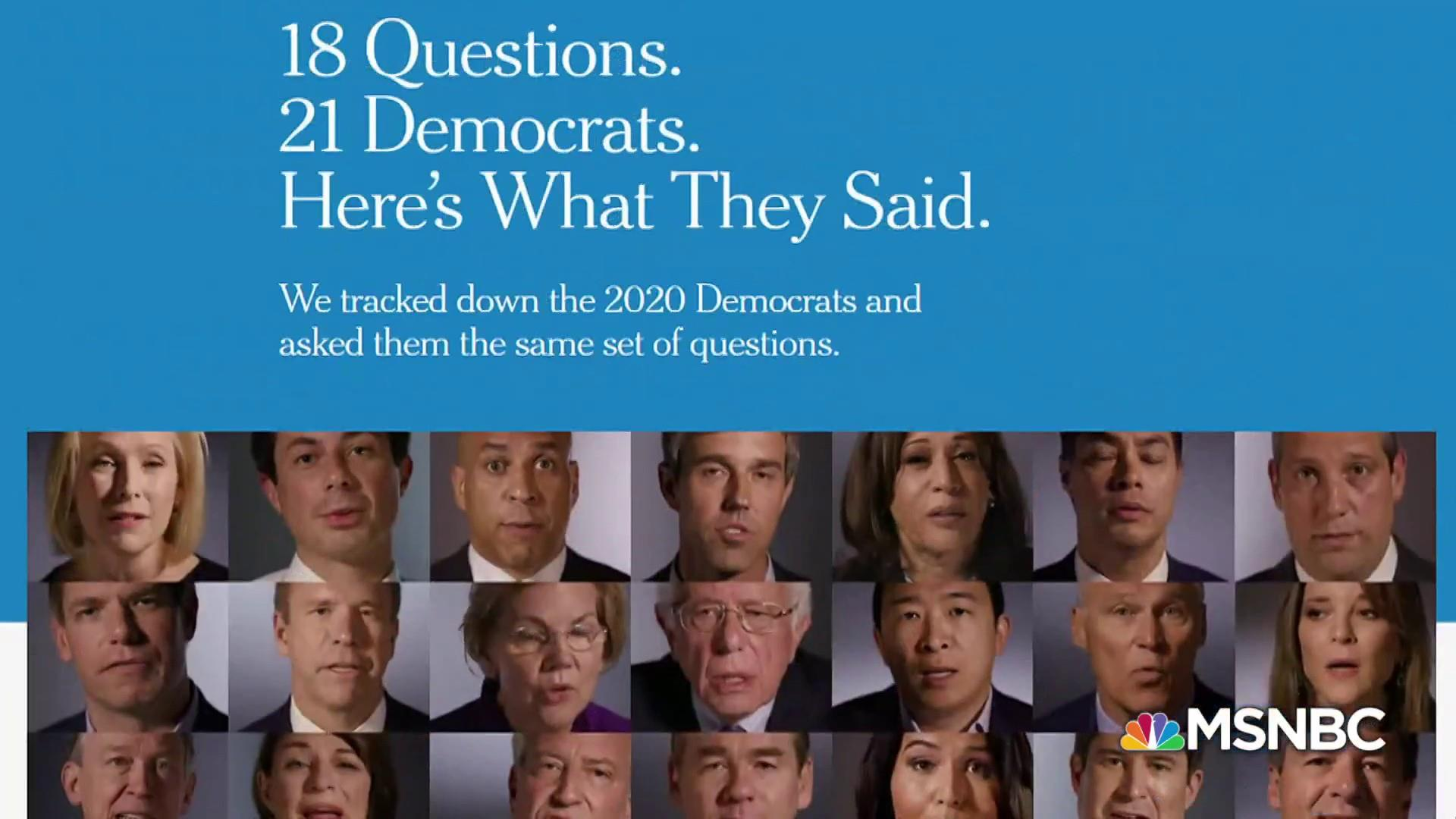 2020 Democrats answer 18 questions: From policy to comfort food