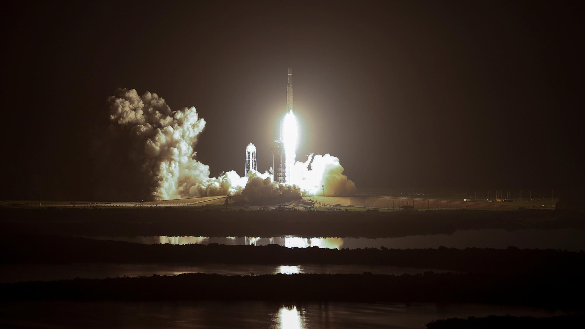 SpaceX launches Falcon Heavy rocket with 24 satellites, but core booster misses ocean platform