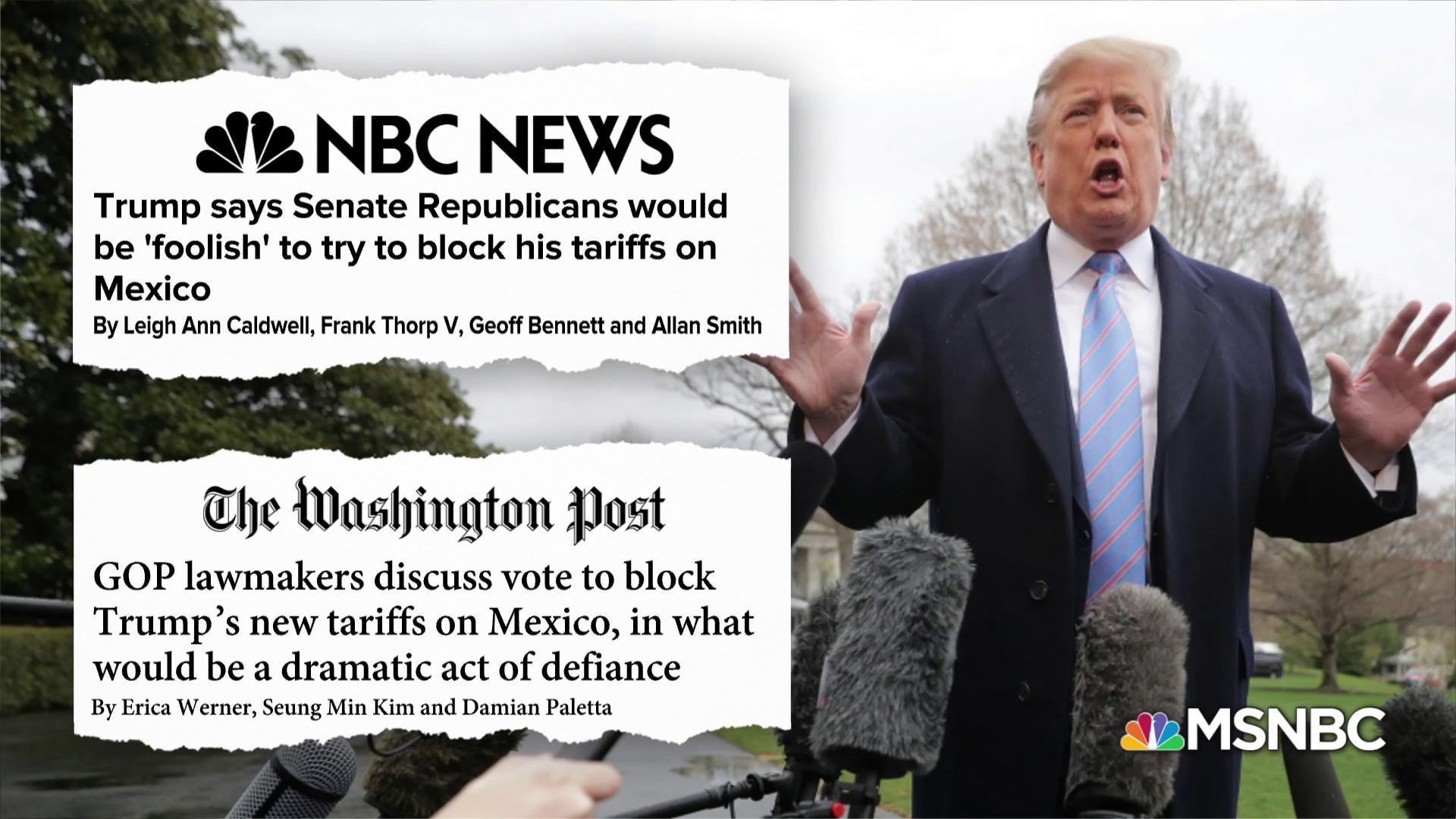 Republican senators step up pressure on Trump over Mexico tariffs