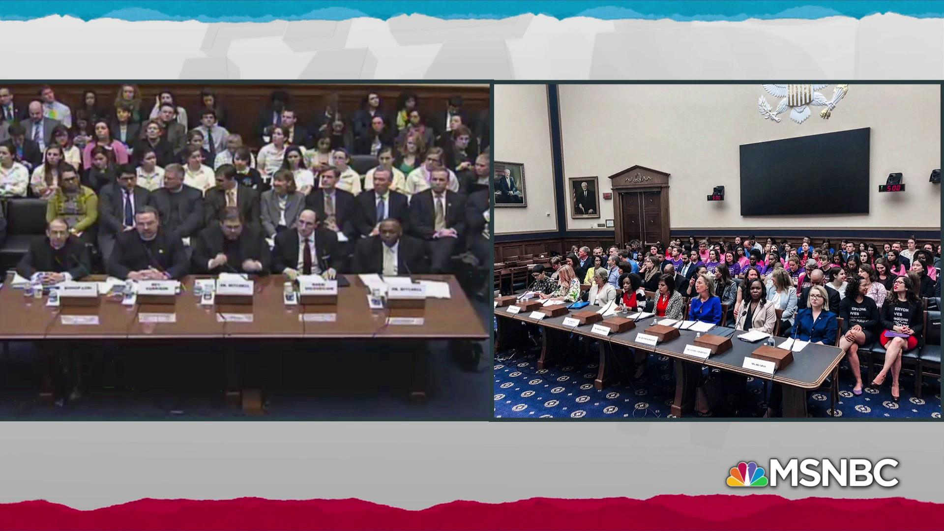 Photos tell a tale of two hearings on women's reproductive health