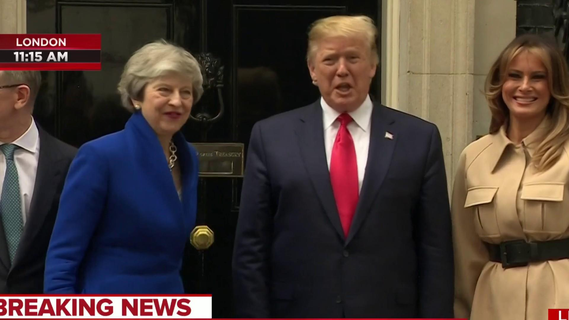 Huge protests form as Trump meets with Theresa May