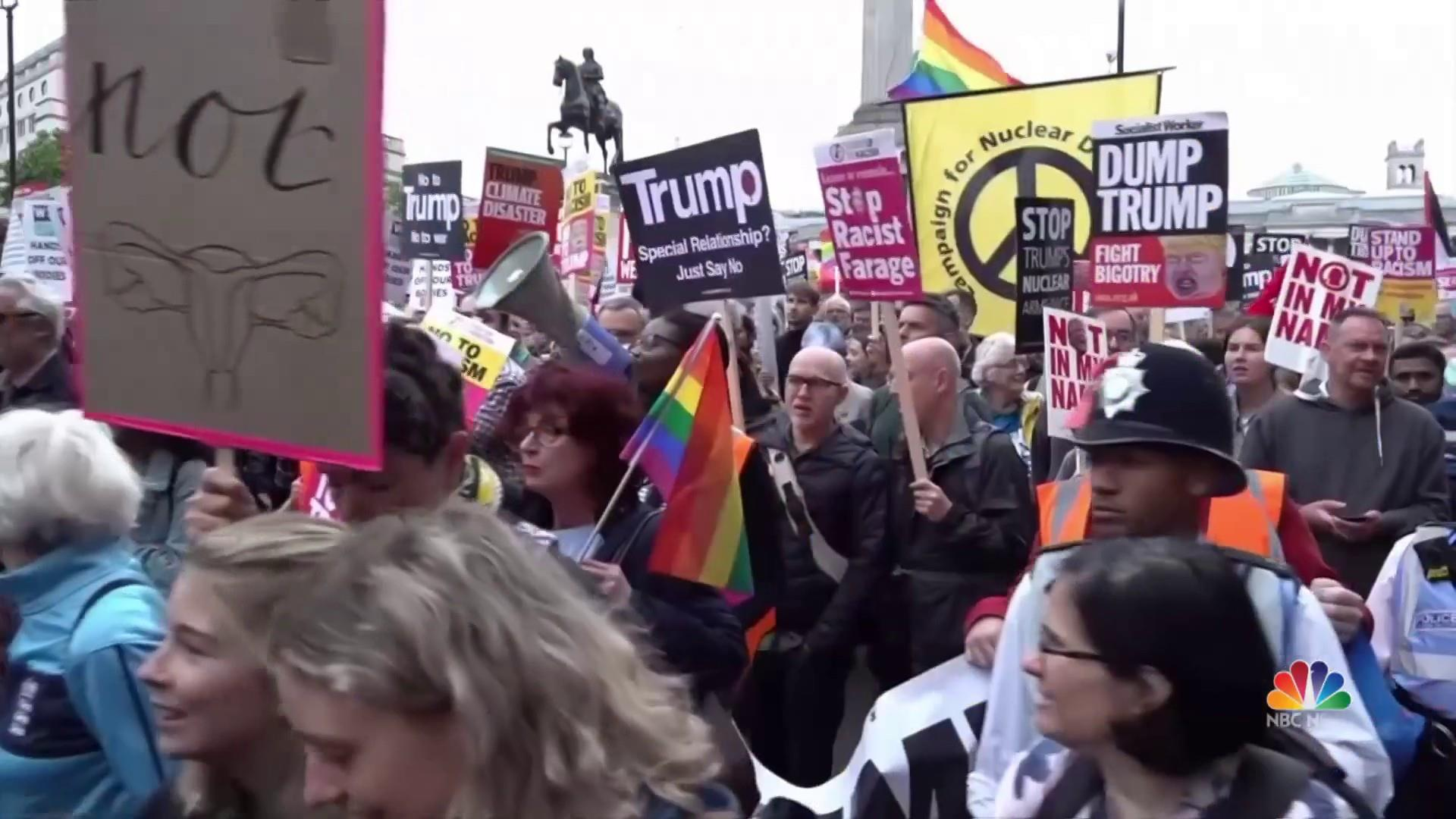 Its Not Just Demonstrators Saying >> Protesters Flood London Streets As Trump Meets Theresa May