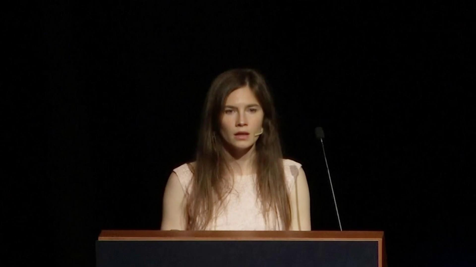 Emotional Amanda Knox speaks out after first return to Italy