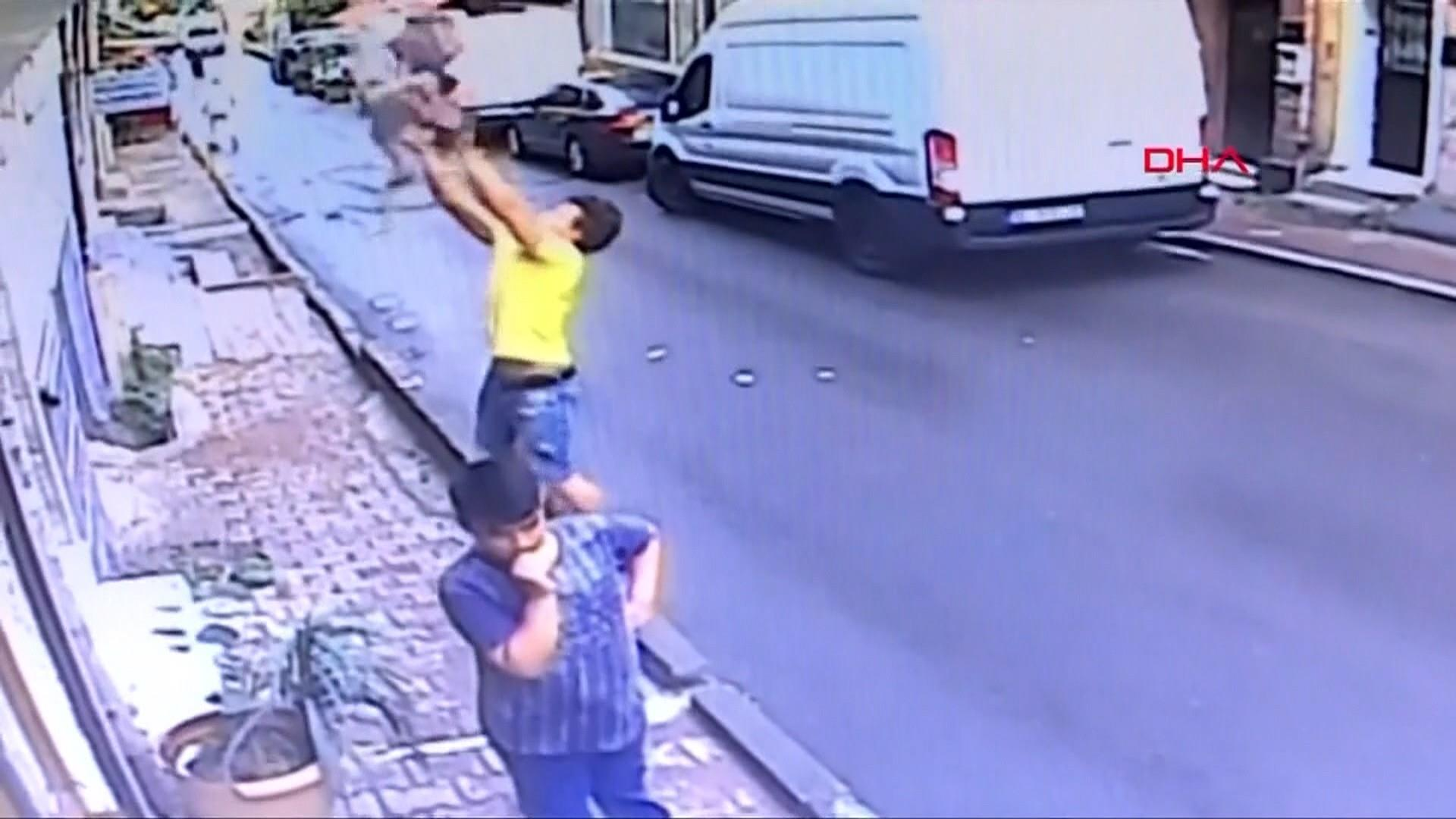 Teen's dramatic rescue of falling toddler caught on camera