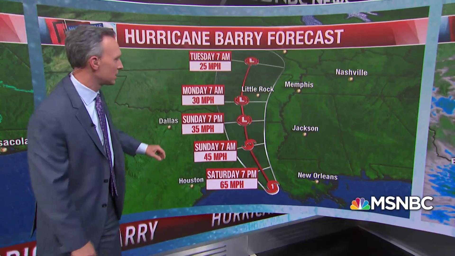 Tropical Storm Barry has now been updated to Hurricane status