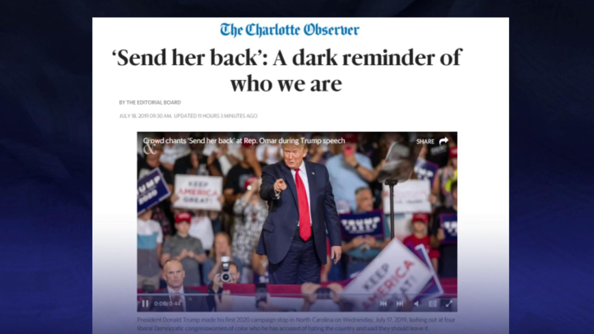 Charlotte Observer says 'send her back' chants are a dark reminder of who we are