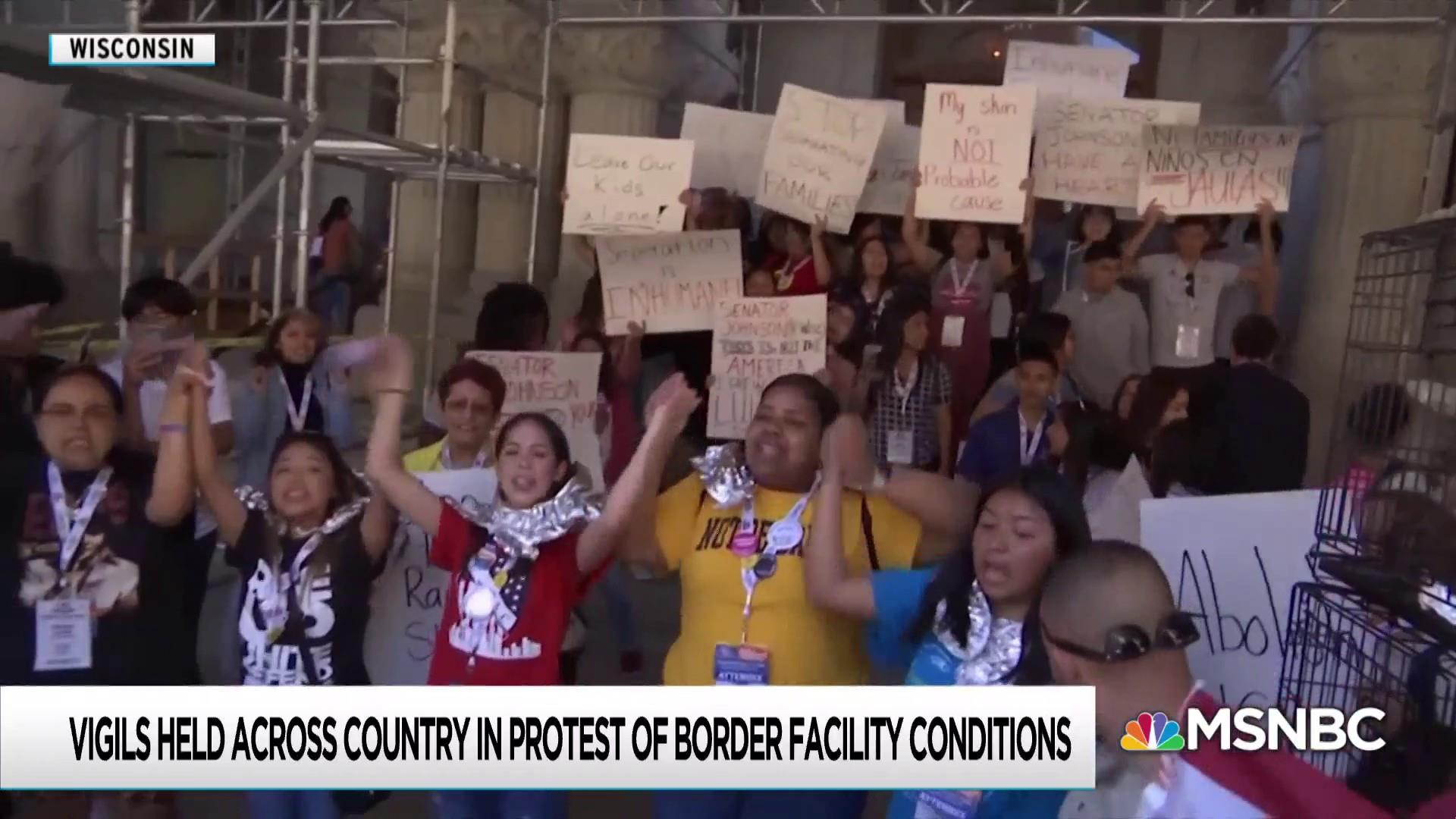 Pence sees border horror first hand as protests spread nationwide