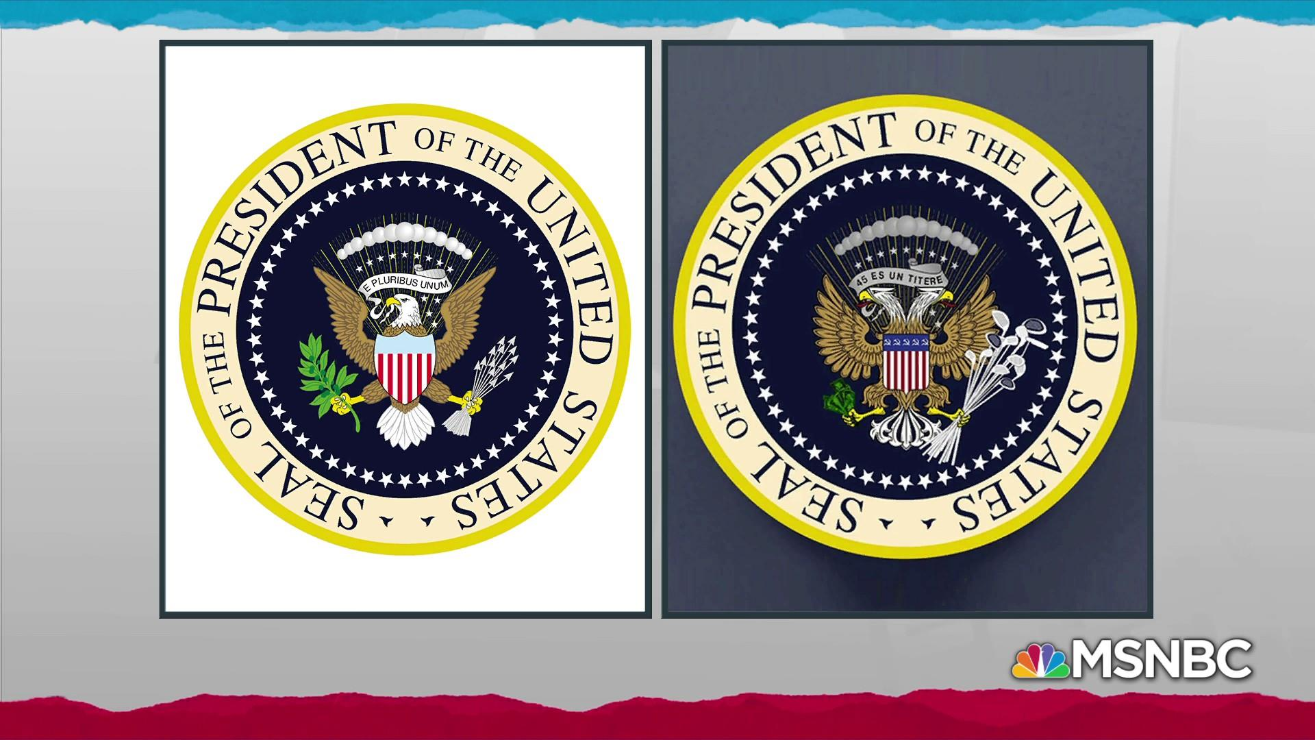 Trump mocked on stage by errant satire presidential seal