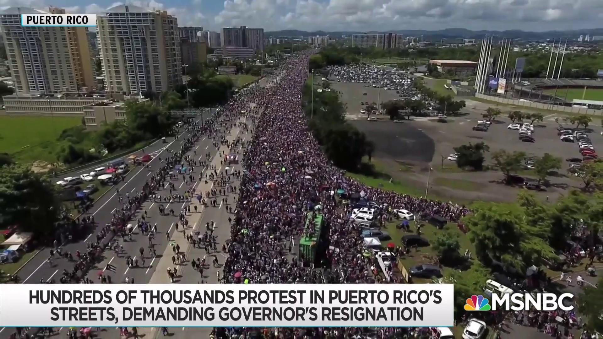 Massive Turnout For Puerto Rico Protest Governor Flounders On Tv