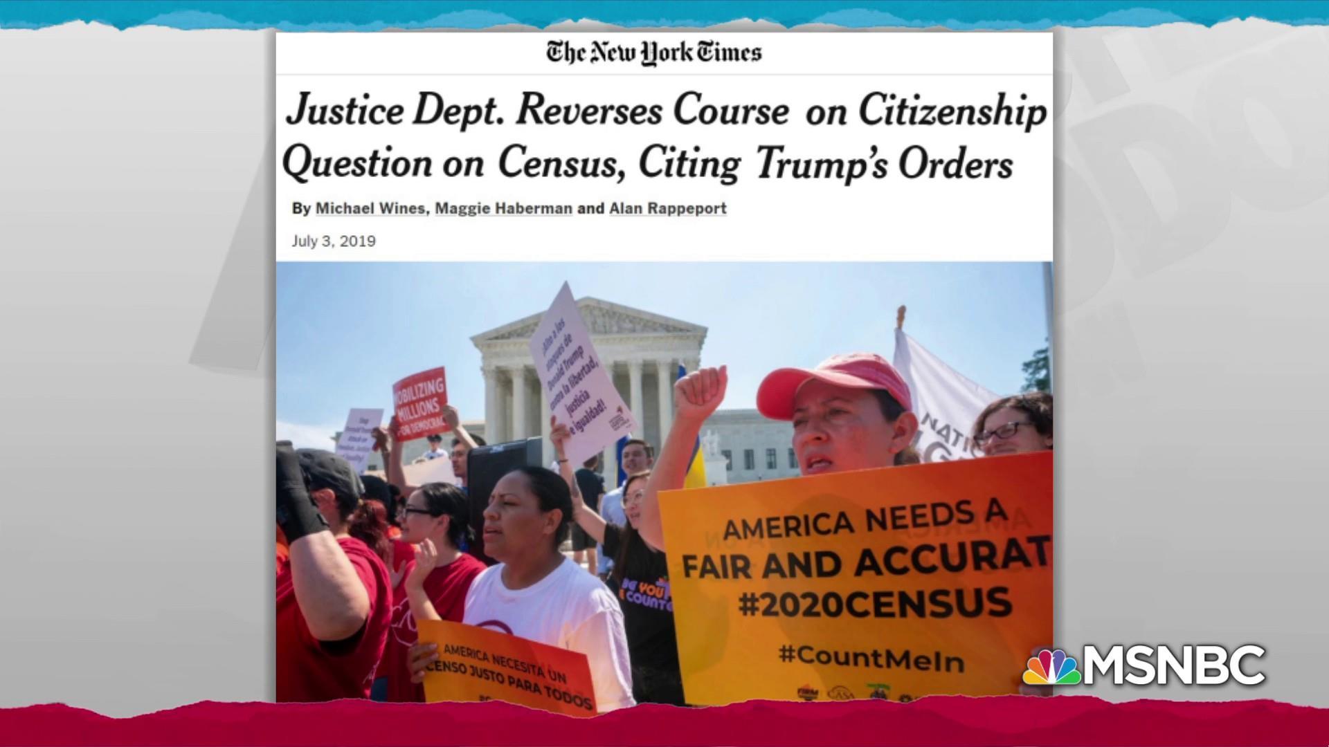 Trump puts DOJ in awkward spot with errant census question tweet