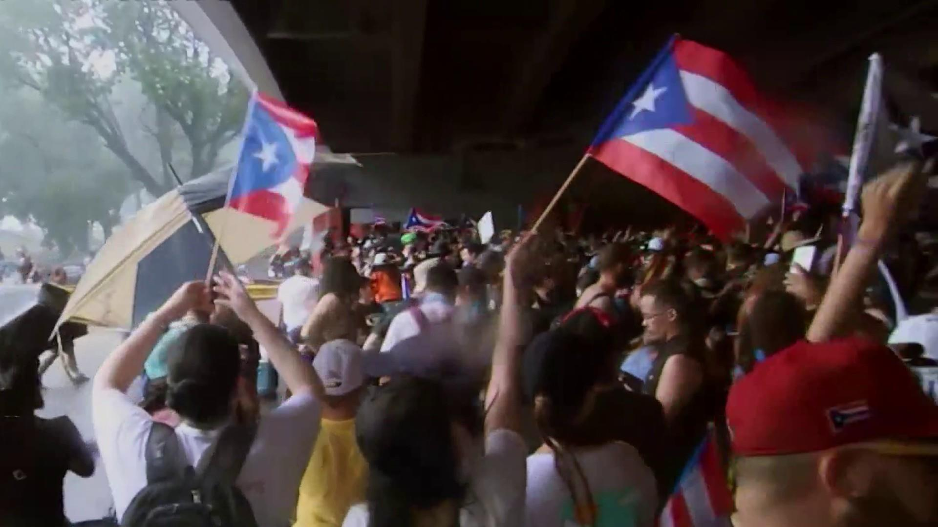 What are protestors in Puerto Rico hoping for?