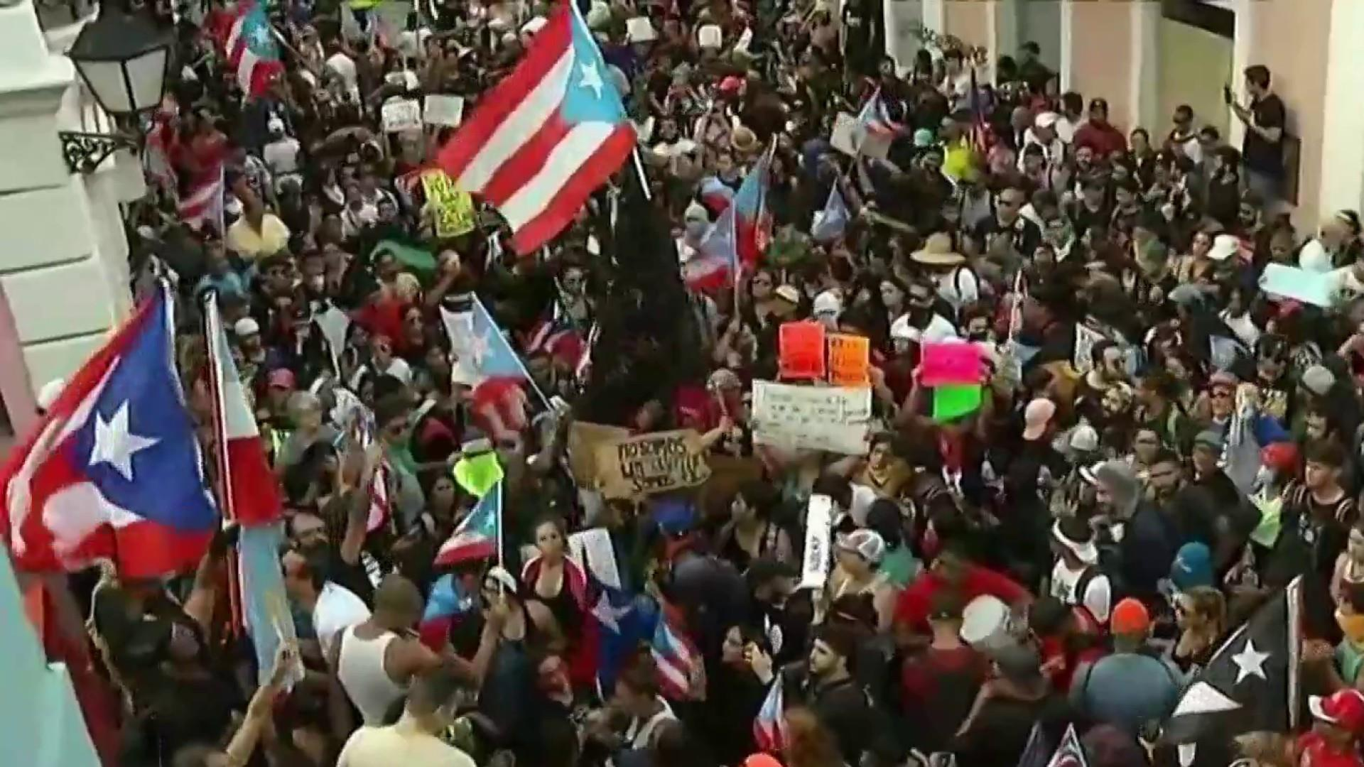 Thousands protest at mass rally in San Juan, demanding Puerto Rico governor's resignation