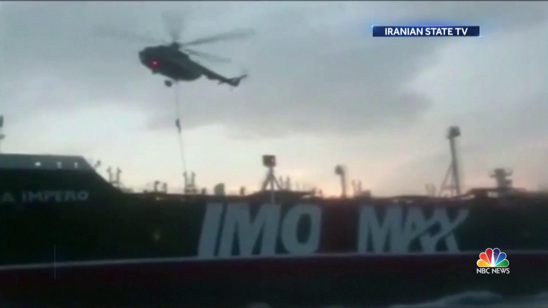 Iran releases video of masked commandos rappelling onto seized British oil tanker