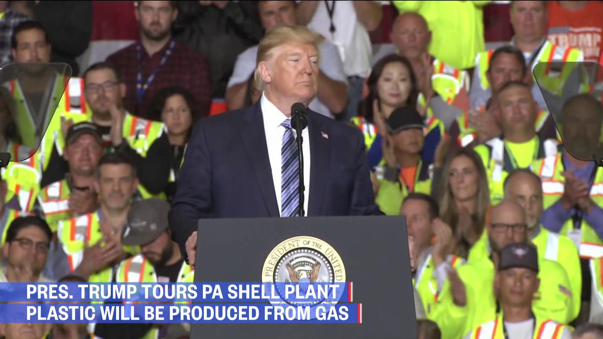 Trump at Shell plant vows to restore 'the glory of American manufacturing'