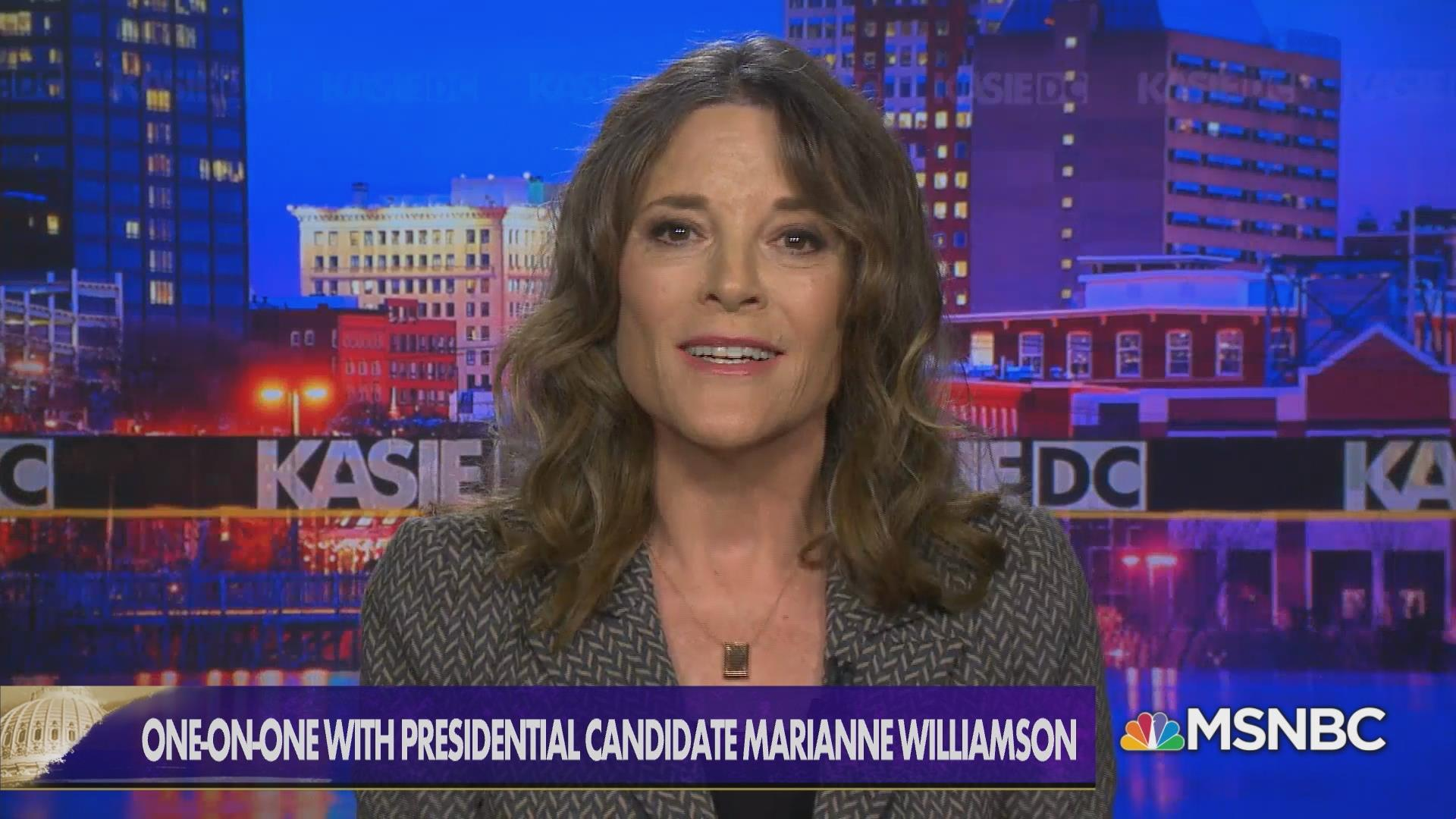 'I'm talking about creating a moral economy.' Behind in polls, Williamson stands by mission of campaign