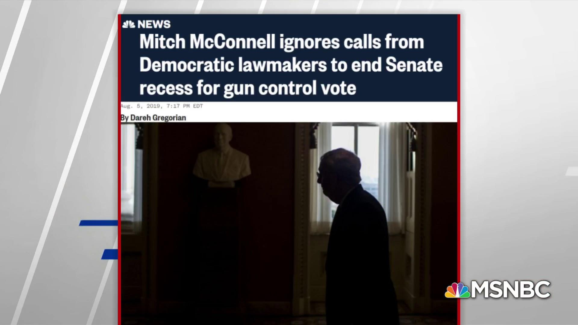 Mitch McConnell ignores calls from Dem lawmakers to end recess for gun control vote