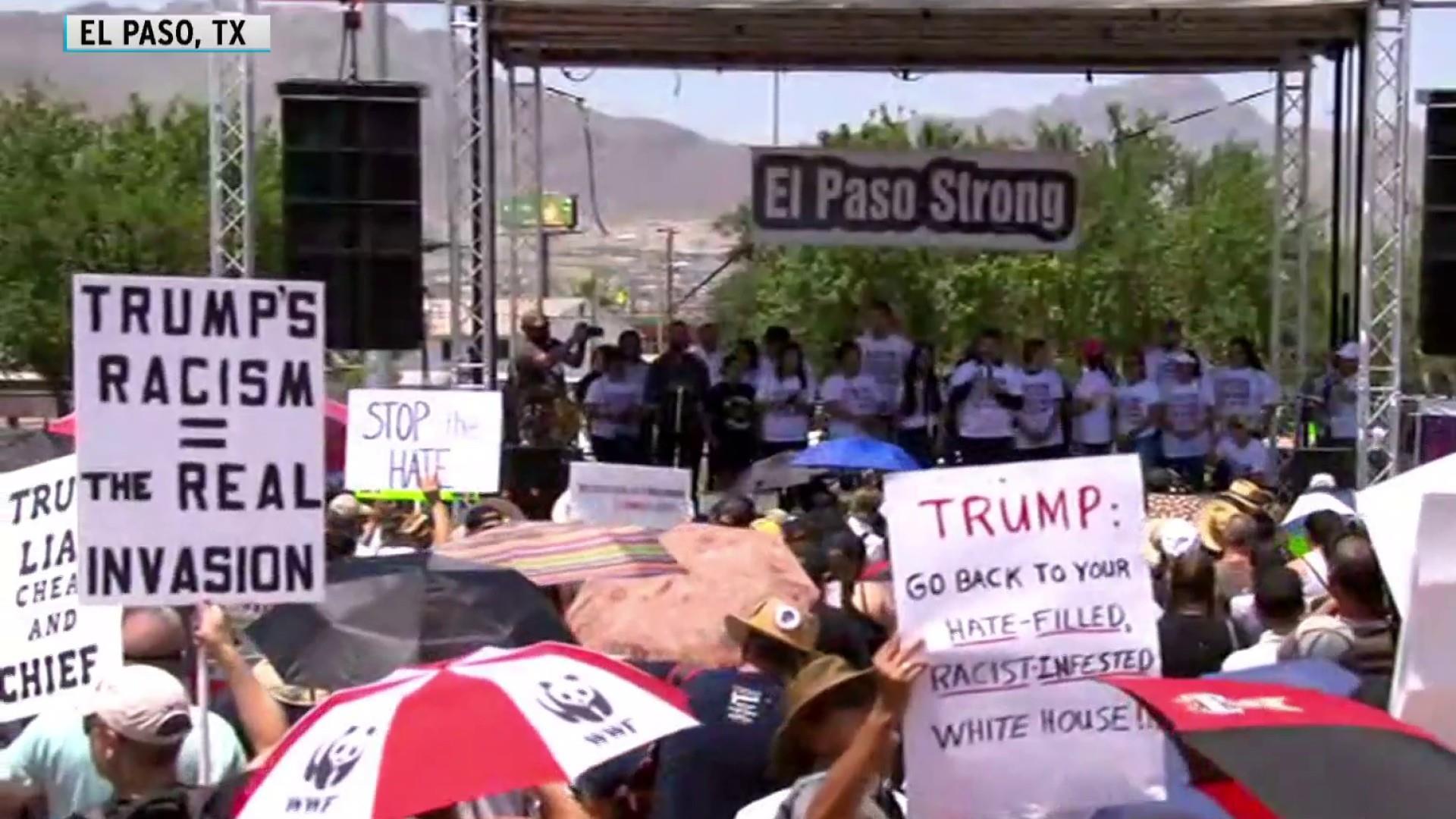 Trump visits to gun massacre sites met with protests
