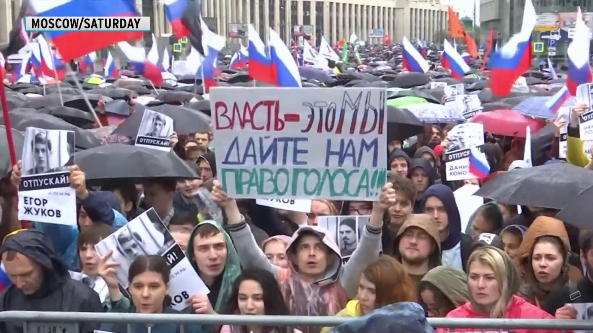 Tens of thousands take to Moscow streets for fair, free elections