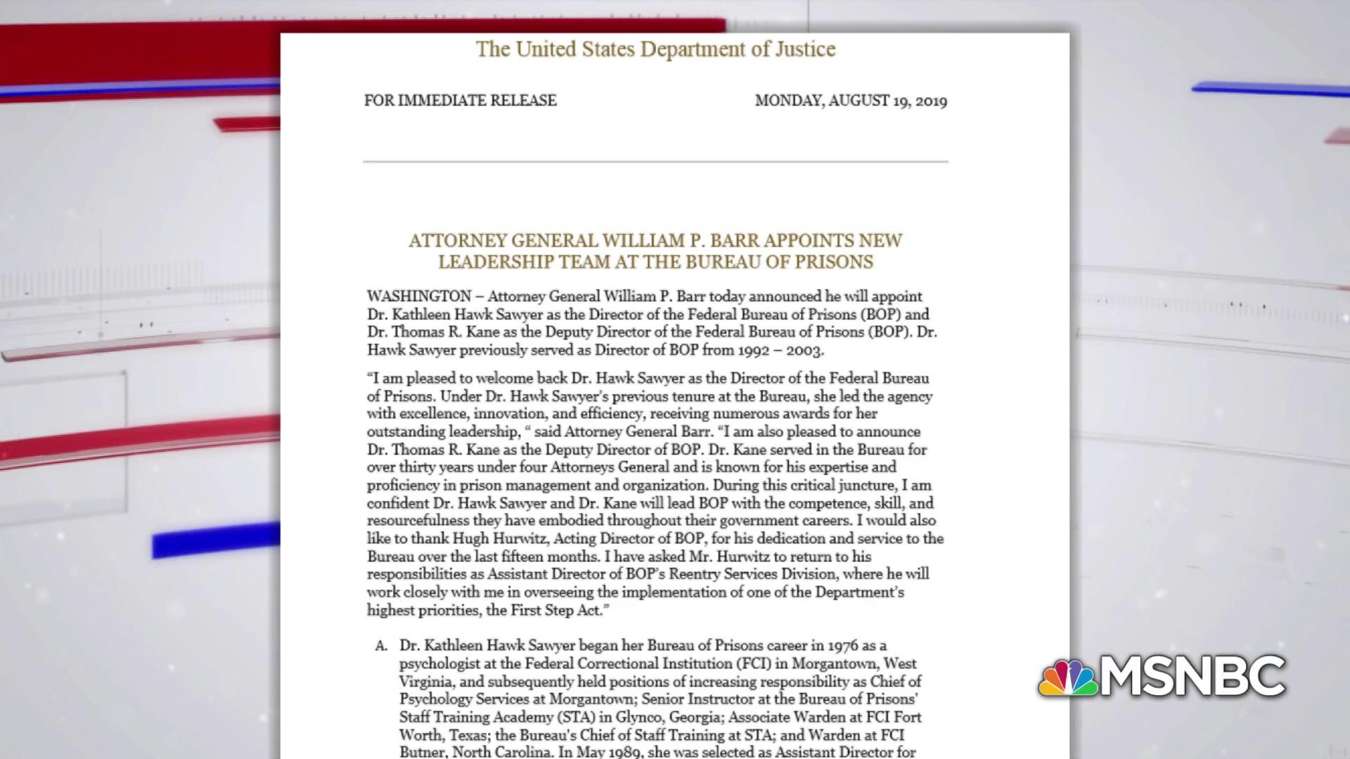 AG Barr appoints new Bureau of Prisons chief following Jeffrey Epstein's death