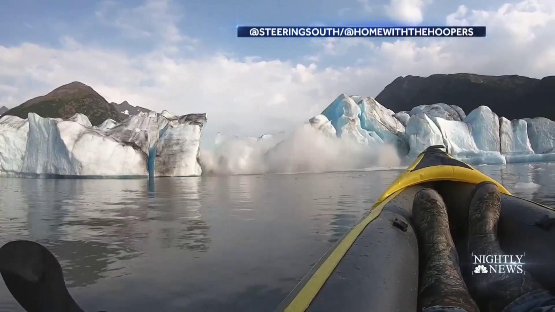 Dramatic video shows Alaska glacier collapse near kayakers