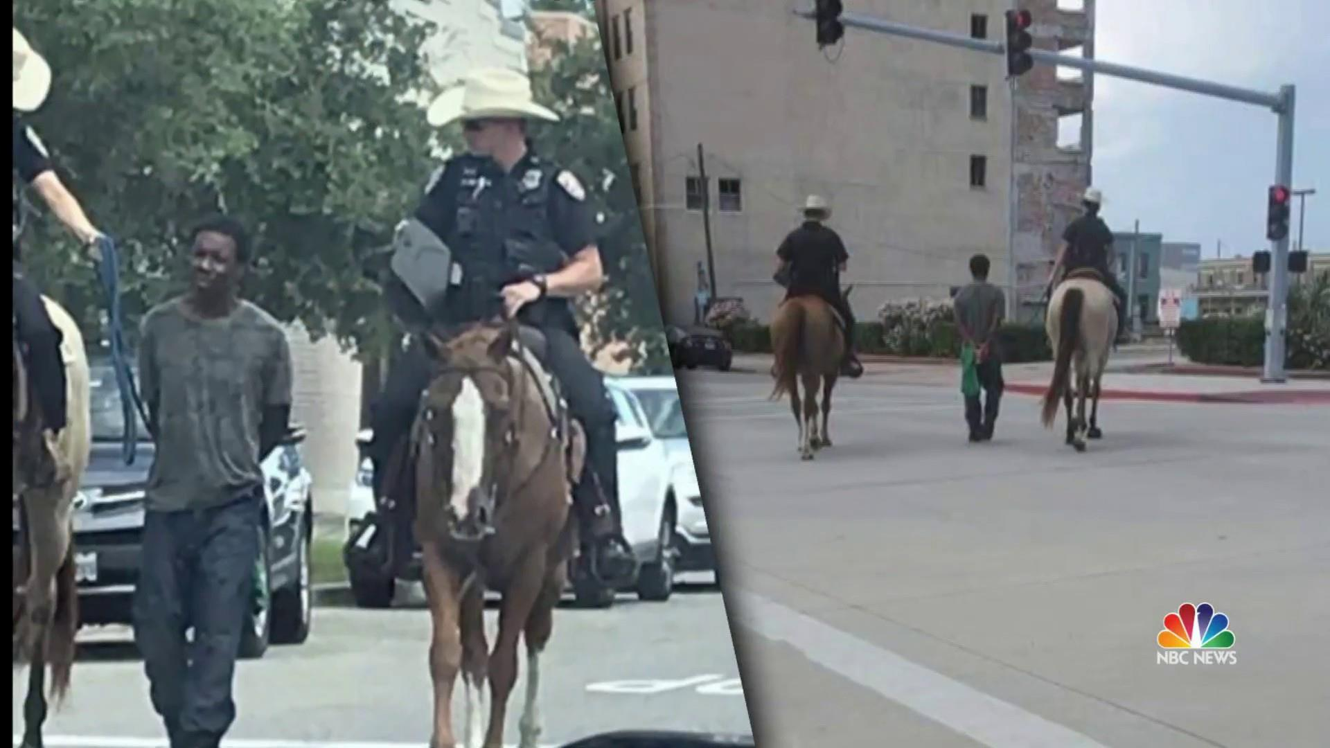 Attorney demands body cam footage of officers on horses leading black man by rope
