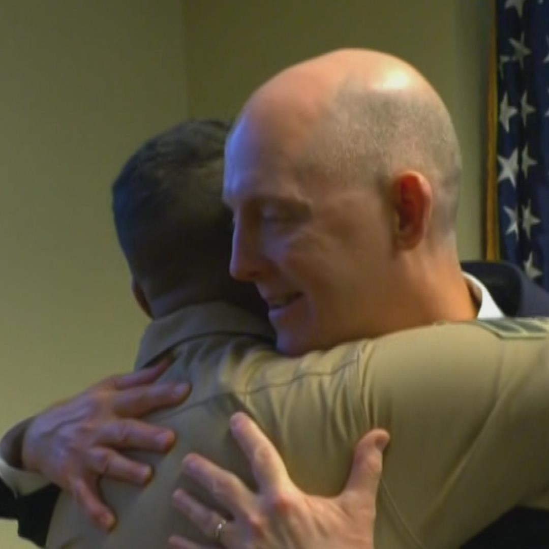 Marine reunites with the FBI agent who rescued him as a baby